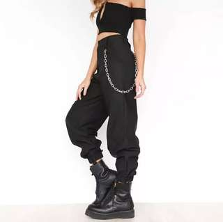 Cobain high waist pants with chain