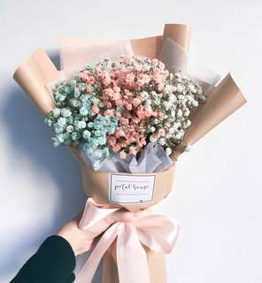 Rainbow baby's breath graduation bouquet