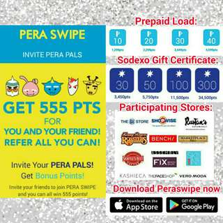 FREE load and GCs with PERA SWIPE! Use my referral ID - kragsag