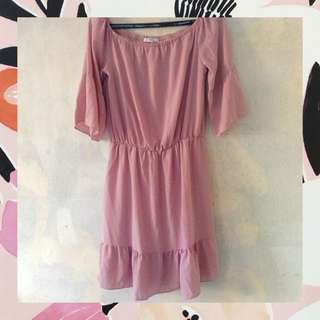 Unica Hija Old Rose Off-Shoulder Dress