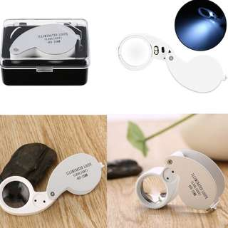 40X 25mm LED Magnifying Glass Loupe