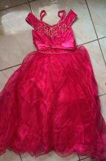 Fuchsia pink dress gown for kids