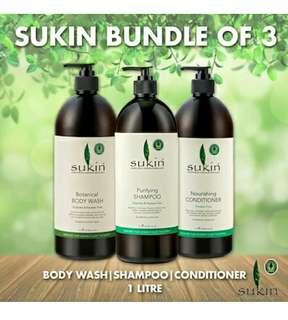 Sukin Botanical Body Wash, Purifying Shampoo and Nourishing Conditioner 1L