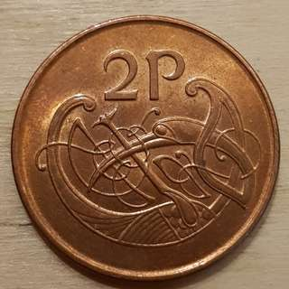 1990 Ireland 2 Pence Coin