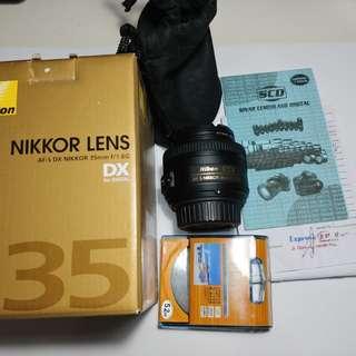 Nikon Nikkor AF-S DX 35mm f/1.8G bonus tas kamera