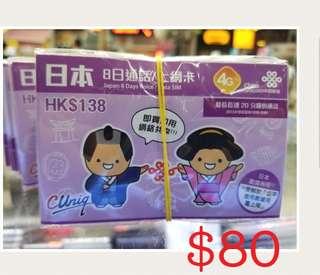 日本7日上網卡 日本聯通上網卡 數據卡