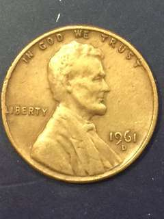 USA 1 Cent 1961, Error, Liberty- L is at the side of the coin , VF