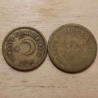 1956 Turkey 5 and 10 Kurus Coins
