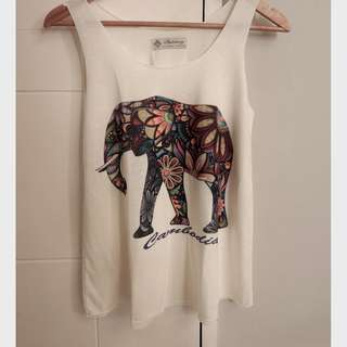 CAMBODIA white with elephant print tank top
