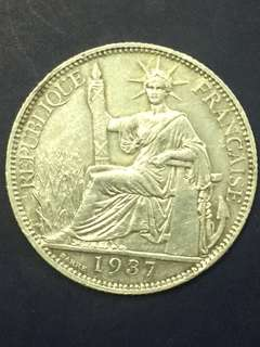 IndoChine ( France ) 20 Cent 1937, Silver Coin , XF