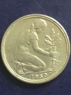 Germany 50 Pfenning 1950, Vf