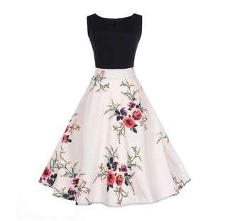 NEW black & white floral dress, Sz 8-10