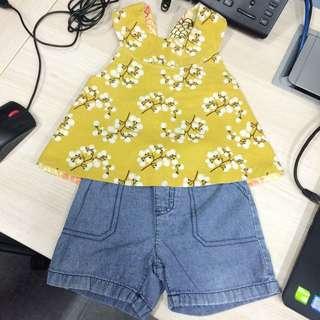 Bundle set reversible blouse + carters shorts 18mos