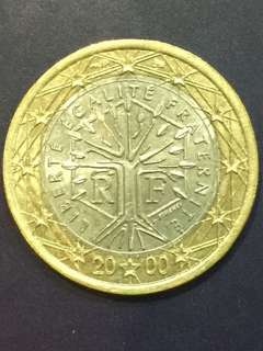 Euro $1 , millennium year 2000, France Design , XF