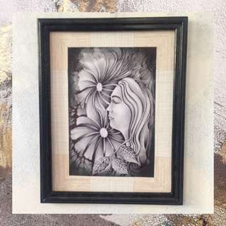 "Charcoal Pencil Painting - ""Girl with Flower #2"" (ready to hang)"