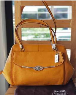 Authentic Coach Madison Madeline East/West Two-way Satchel in beautiful yellow-orange leather