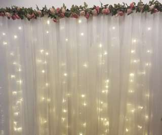 fairy lights floral backdrop for events and weddings