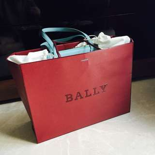 BN Bally Leather Tote Bag In Teal