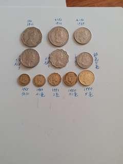 包真:香港硬幣:女王頭及男王頭:友1965年至1974年 硬幣:/共11個
