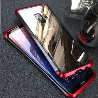 Samsung S9+ Tempered Glass Back with Metal Frame Case