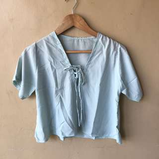 Light Blue Cropped Top Tie
