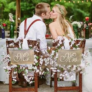 Rustic Vintage Burlap Mr & Mrs Wedding Chair Sign Decor