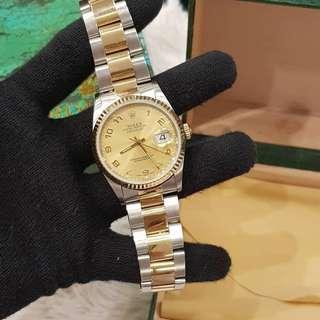 Rolex mens datejust twotone champaign dial