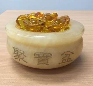 Fengshui Yellow Jade Treasure Bowl With Ingot  黄玉聚宝盆(有8粒元宝)💰💰💰
