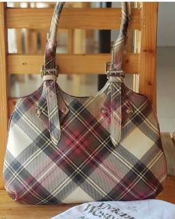 Authentic Viviene Westwood Large Plaid Hobo with slightly adjustable straps in sturdy PVC/Laminated Material