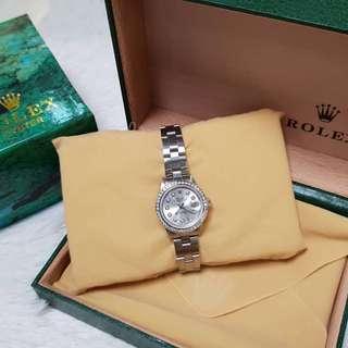 Rolex ladies datejust all steel 26mm white dial diamond bezel