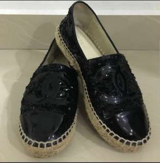 CHANEL Black Sequin Espadrille (Authentic)