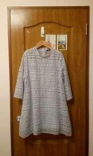 🚚 PAZZO 蕾絲水藍 微透洋裝 二手 九成新