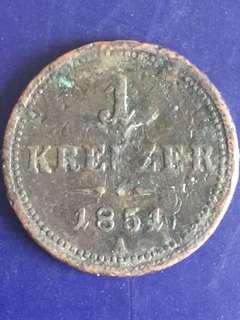 Austria 1 kermer 1854, Vg