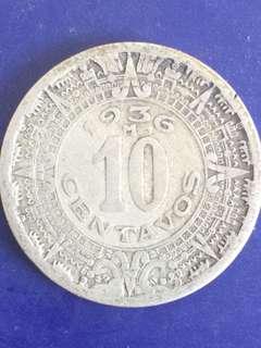 Mexico 10 centavos year 1936, Fine