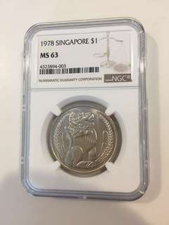 1978 one dollar Singapore ngc graded