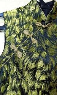 Dress Pesta imlek gaun hijau cheongsam