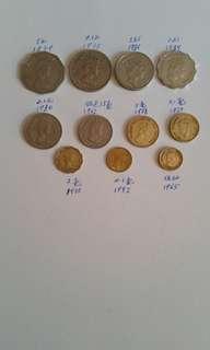 包真:香港硬幣:女王頭及男王頭:友1965年至1975年:/共11個