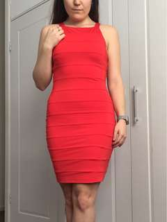 Fitted Stretchy Red Mid Length Dress