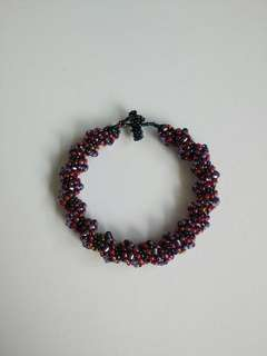 深紅紫雜色綠藍玻璃珠手鍊鐲Dark purple red assorted colour green blue beads crystal spiral bangle bracelet