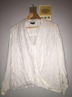 Topshop Wrap-Style White Cotton Shirt