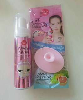 Cathydoll Bubble Mousse Cleanser (70ml) with pink face brush 💗