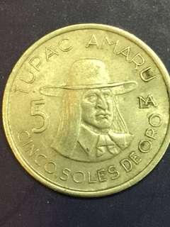 Peru 5 oro, 1977,  Vf