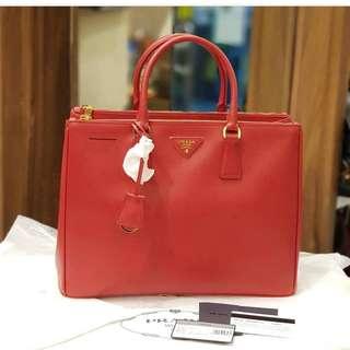 Bnew Prada bn1786 saffiano lux double zip tote bag fuoco