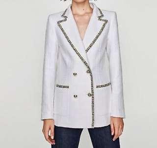 Zara White Tweed Blazer