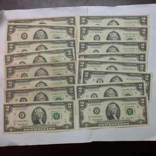 16 United States Usa $2 Notes