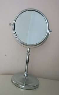 Silver Plated Cosmetic Mirror - Double Dual Side Rotating