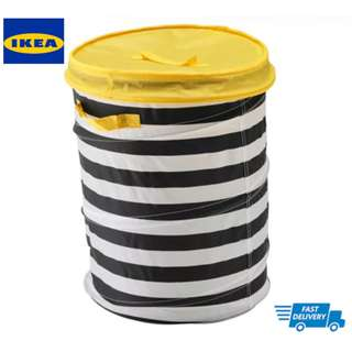 IKEA FLYTTBAR Basket with lid, yellow