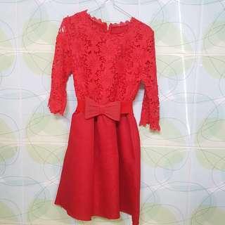 Red Embroidery Dress - Gaun Pesta Merah
