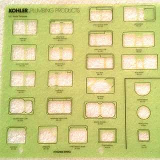 "Kohler Plumbing Products 1/2"" Scale Kitchen or Bar Sinks Stencil Template"