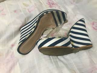 Blue and White Stripe Wedge